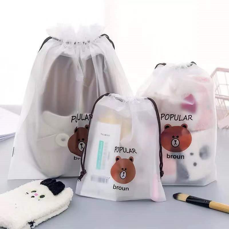 Fashion Brown Transparent Cosmetic Travel Makeup Case Women Zipper Make Up Bath Organizer Storage Pouch Culture Wash Beaut Kit