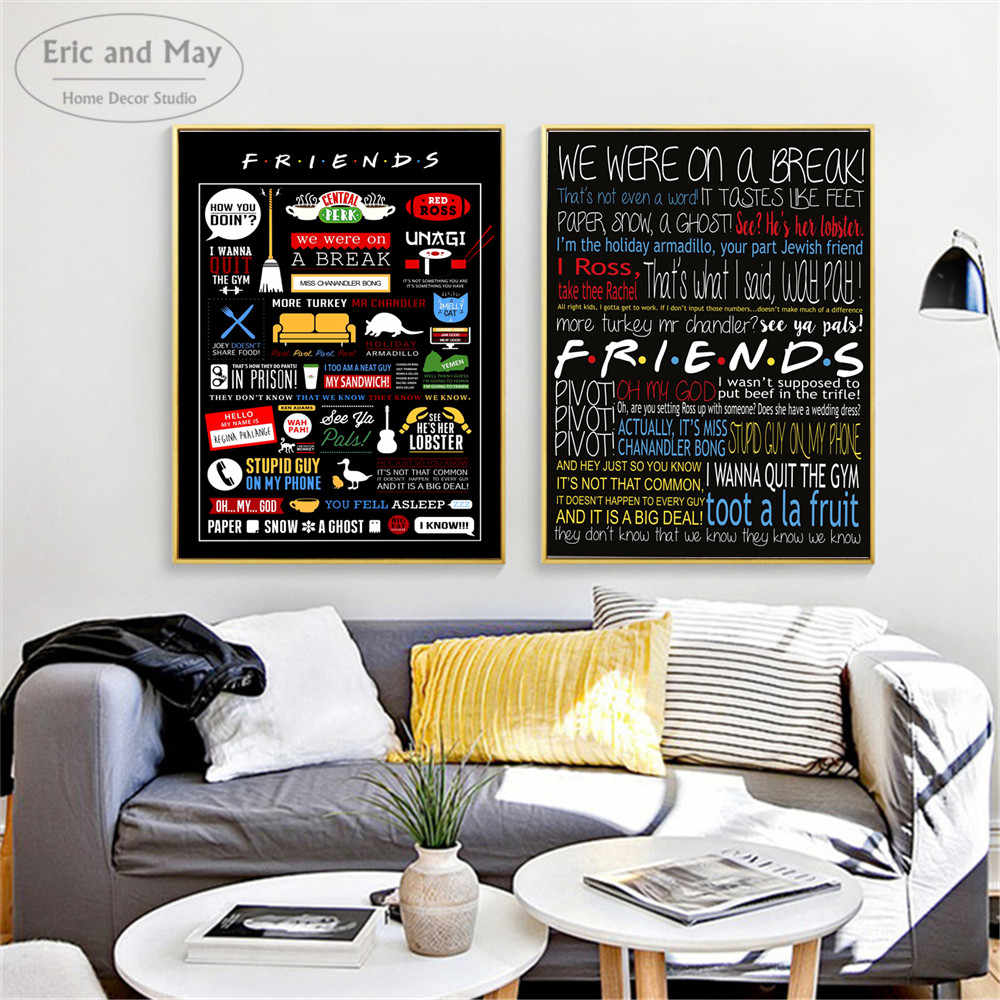 Friends TV Show Quotes Canvas Art Print Painting Modern Wall Picture Home Decor Bedroom Decorative Posters No Frame Cuadros