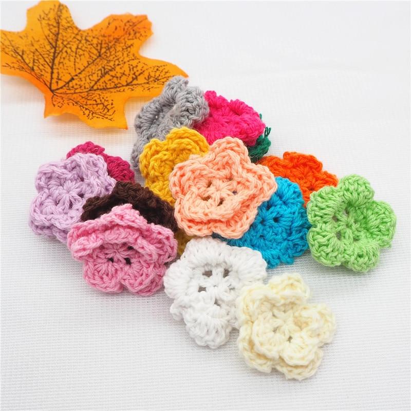 Chenkai 15pcs 28mm 100% Cotton Handmade Knitting Crochet Flowers DIY Decoration Baby Pacifier Dummy Jewelry Sensory Toy Gifts