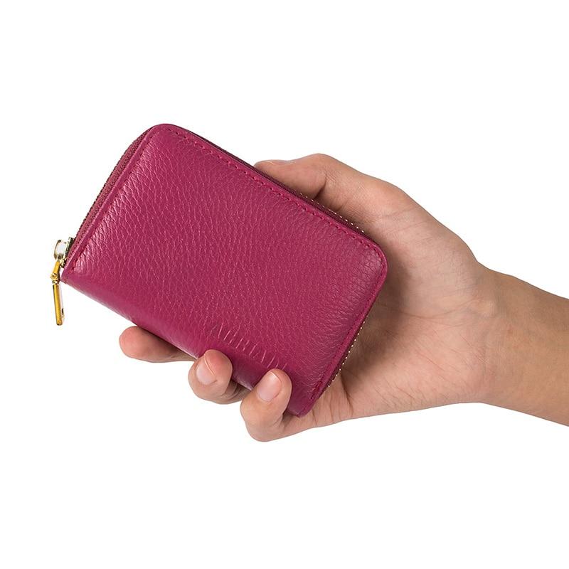 Kvinnor Dragkedja Kreditkortshållare Äkta Läder Mode Korthållare - Plånböcker - Foto 4