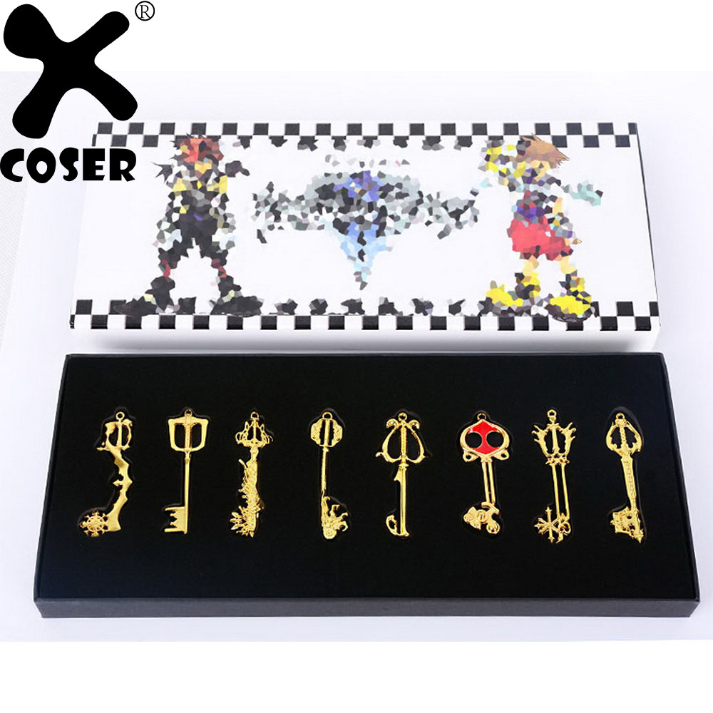 XCOSER 2019 New Arrival Kingdom Hearts Metal Keyblade Sword Weapon Set Anime Cosplay Costume Accessories Props For Collection