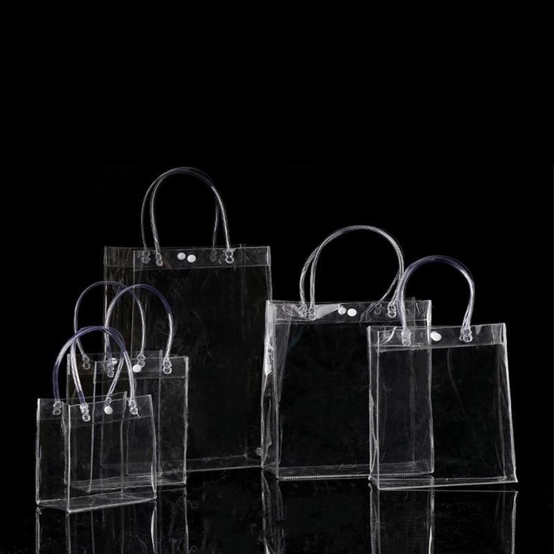 HOT 20pcs/LOT 20*28*10CM Waterproof transparent gift bag plastic bag PVC shop cosmetic packaging bag party holiday Supplies