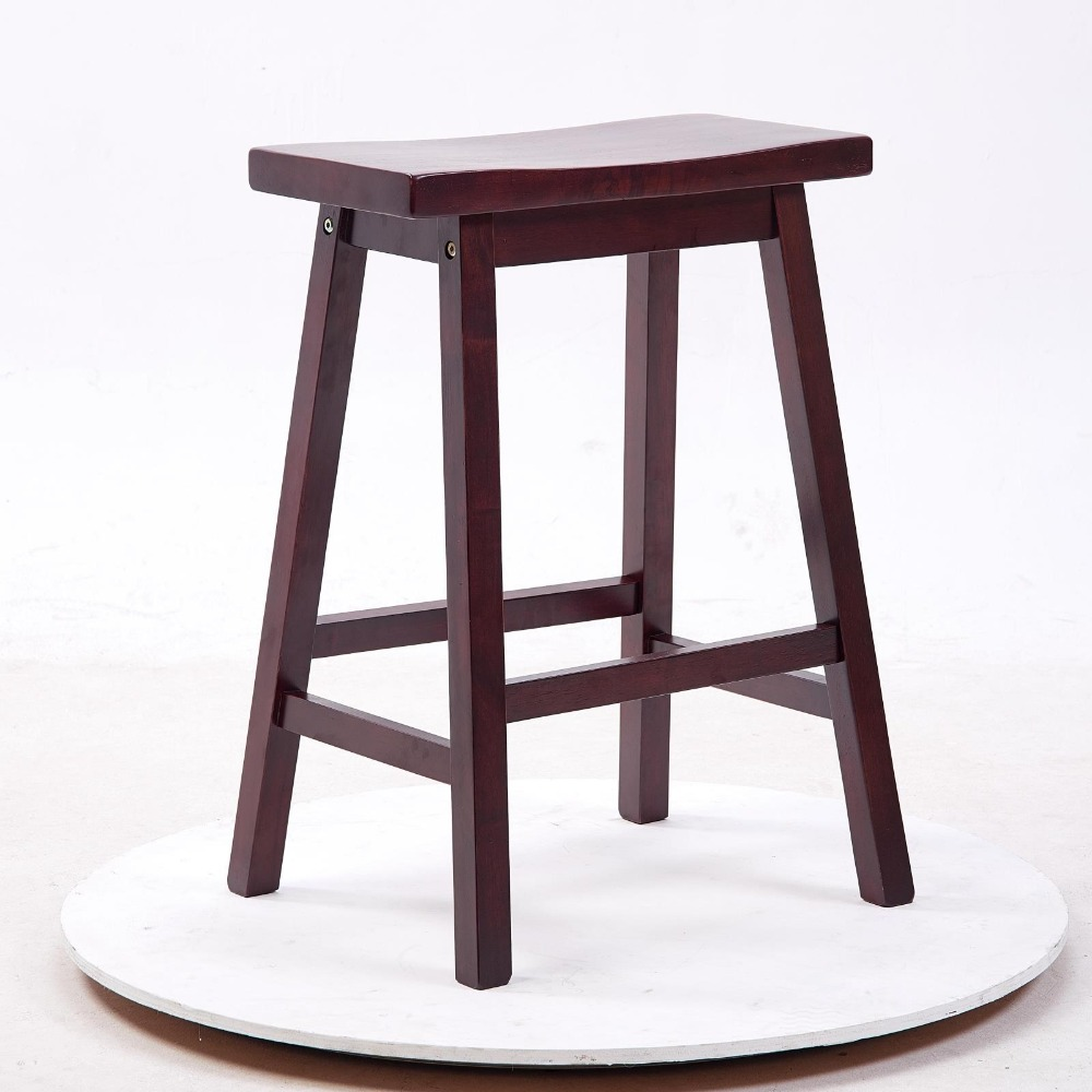 Modern cafe furniture - Solid Hard Wood Bar Stool Chair Saddle Seat Indoor Home Bar Furniture Modern Cafe Wooden Tall