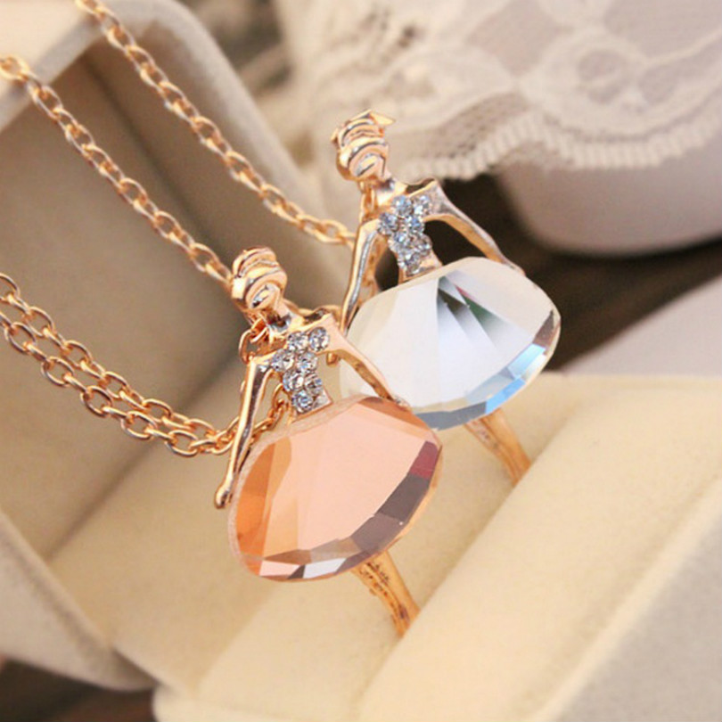 Fashion Jewelry Bohemian Shiny Crystal Ballet Pendant Necklace Statement Ballet Long Necklace Female Elegant Necklace