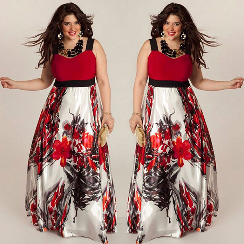 bc0fde64f01ec 2018 Hot Sales Women Spaghetti strap dress Floral Printed V-neck  Summer&Autumn Maxi Dress Plus Size 4XL Party Vintage Dresses