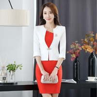 New Formal Spring Summer Professional Business Women Uniforms Design Blazer Suits With Jackets And Dress Blazers Outfits White