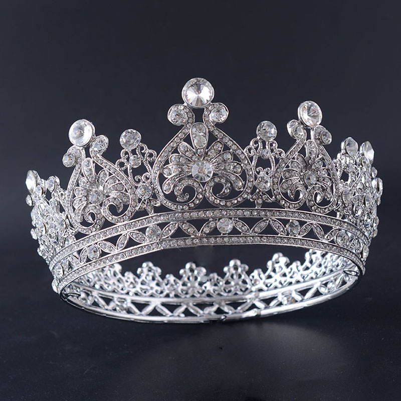 Snuoy Wedding Bridal Crown Queen Crown For Women Rhodium Plated Rhinestone Full Round Pageant Prom Crown and Tiara Hair Jewelry original new arrival official adidas neo label m 2 layer wb men s jacket hooded sportswear
