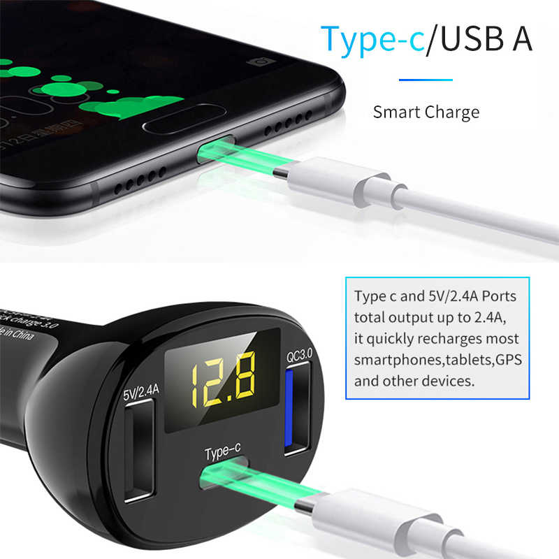 KORSEED USB &TYPE C Car Charger For Mobile Phone iPhone X 8  MAX 7 Xiaomi Samsung Metal Fast charger usb socket for car