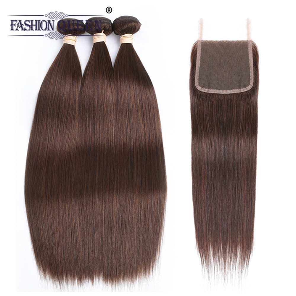 Straight hair bundles with closure Malaysia straight human hair weave 3 bundles with closure human hair weft with closure #4