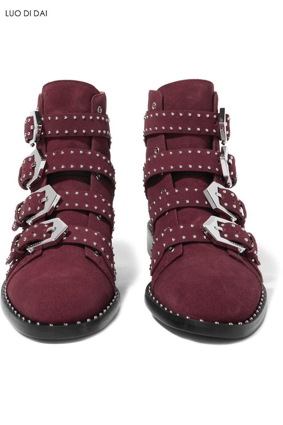 Perles Femmes En Vin Rouge Boucle Chaussures Talon 2019 Suédé De Plat Toe Chaussons Cuir Soirée Point Nouveauté Bottines Bottes CWBordex