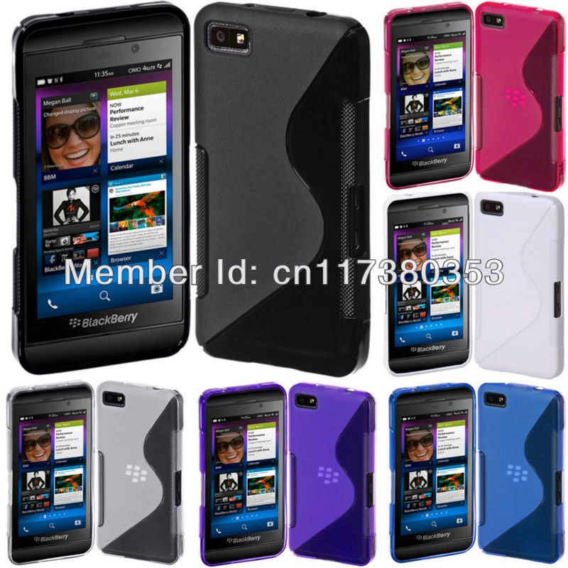 Clear Soft TPU Gel S-Line Curve SKin Cover Case for Blackberry Z10 Black Blue Pink Purple White