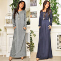 New Year Dress Long Sleeve Loose Solid Sashes Pocket Dress Winter Casual O Neck Classic Desginer Maxi Dress Ladies