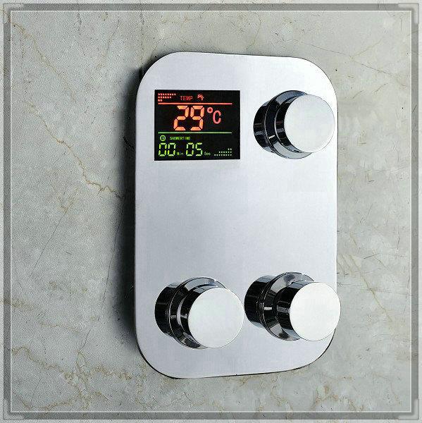 Digital Thermostatic Temperature sensitive 3 Way Shower Faucet Control water powered bathroom