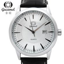 Gucamel dial diámetro 40mm de alto grado de moda calendario relojes de los hombres correa de reloj de cuarzo