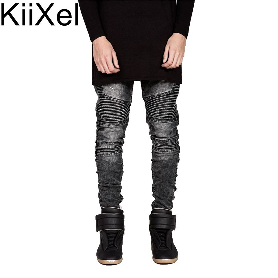 2017 Men's Jeans Runway Slim Racer Biker Jeans Fashion Pants for Hiphop Casual Denim distressed Skinny Rock Ripped Jeans JSC#01 mens skinny biker jeans runway distressed slim elastic jeans hiphop washed men a circle of zipper and side pleated black jeans
