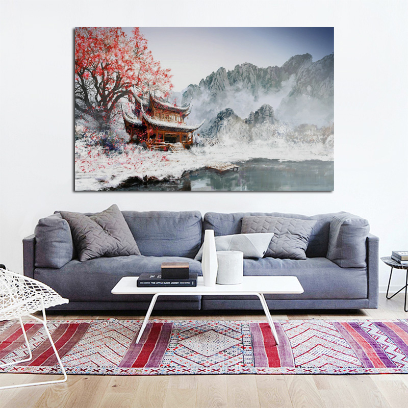 astounding red bedroom walls will | China snow temple red flower amazing winter landscape ...
