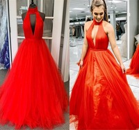 Sexy Halter Neck Orange Prom Dresses Long 2019 Elegant Ruffled Tulle A line Evening Dress Party For Women Cheap Plus Size