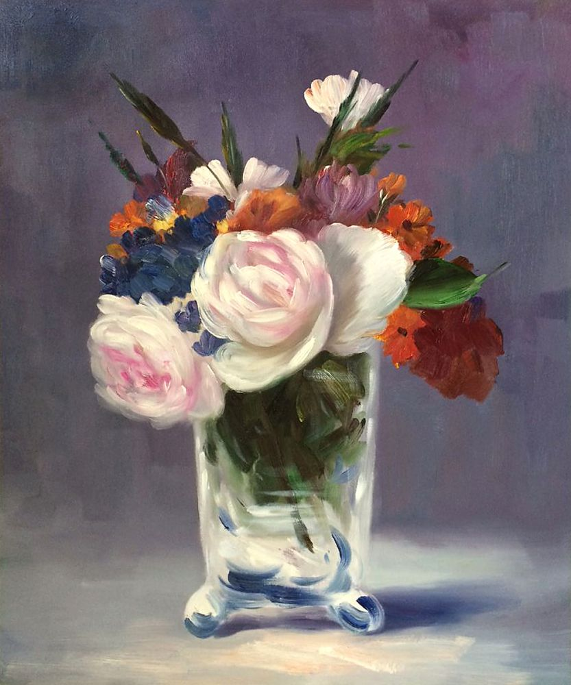 Beautiful Flowers Painting For Kitchen Flowers In A Crystal Vase By