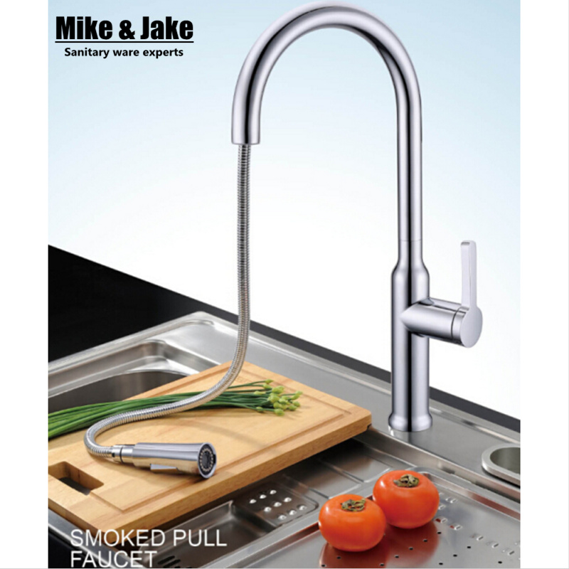 2015 single hole pull out kitchen faucet pull down sink faucet kitchen tap torneira cozinha kitchen mixer tap modern kitchen sink faucet mixer chrome finish kitchen double sprayer pull out water tap torneira cozinha rotate hot cold tap