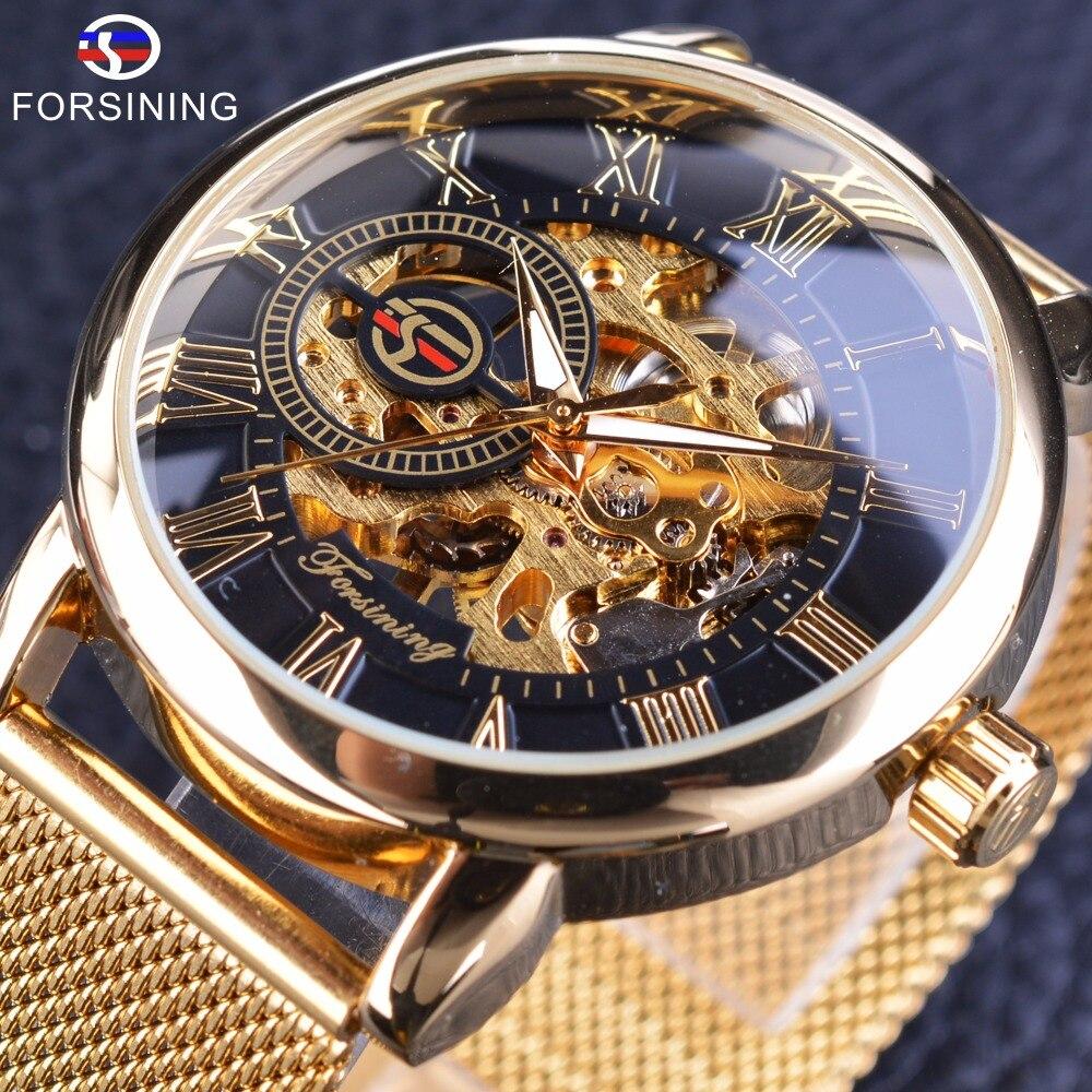 Forsining transparente caso 2017 moda 3D Logo grabado oro del acero inoxidable de los hombres reloj mecánico Top marca de lujo esqueleto