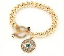 Gold Lucky Rhinestone Fatima Hand Chain Bracelet Hamsa Blue Evil Eye Charms Crystal Bangle Hot Jewelry Bijoux Pulsera Mujer Gift
