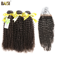BAISI Hair Brazilian Curly Virgin Hair 100% Unprocessed Hair Extensions 3 Bundles with a Lace Closure Free Shipping.