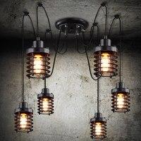 6 Arms Винтаж промышленные Nordic люстра Эдисон лампа LOFT ретро потолок подвесной светильник паук Крытый Книги по искусству огни столовая лампы