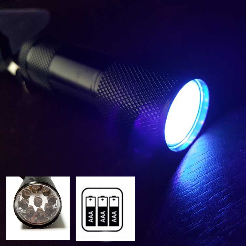 Z90 Mini Aluminum Portable UV Flashlight Violet Light 9 LED UV Torch Light Lamp mini Flashlight