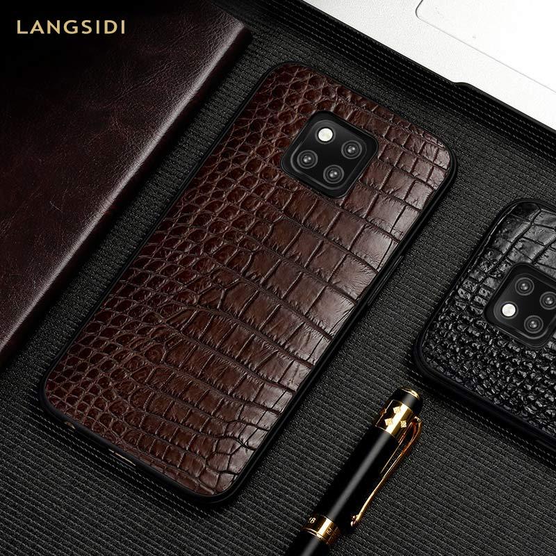 Genuíno Couro De Crocodilo caso de telefone para Huawei companheiro P20 P30 20 Pro Lite Tampa Para Honra 8x 9X y7 y9 8A V20 10 20 Pro Luxo 360 Huawei Y9 Y7 P SMART 2019 , Mate 20 lite , P30 Lite P20 Lite , P30 Pro ,