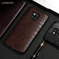 Genuine Crocodile Leather phone case for Huawei P20 P30 mate 20 Pro Lite y9 y7 Cover For Honor 8x 9X 8A V20 10 20 Pro Luxury 360