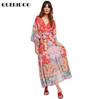 QUERIDOO Frauen Gypsy Kollektiven Lotus Kleid Roten Kleid Boho Stil langes Kleid V-ausschnitt Hohe Taille Halben Hülse Kleid Zauber Design