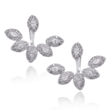 Platinum Plated Front Back 2 in 1 Ear Jacket Zircon Peeking Feather Rhodium Plated Stud Fashion Cuff Earrings