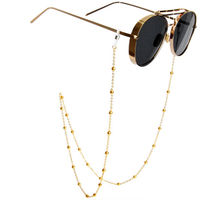 цена 2019 Simple Classic GOLD Silver Bead Chain Sunglasses Chain for Women Trendy Personality Glasses Lanyard Holder Straps holder