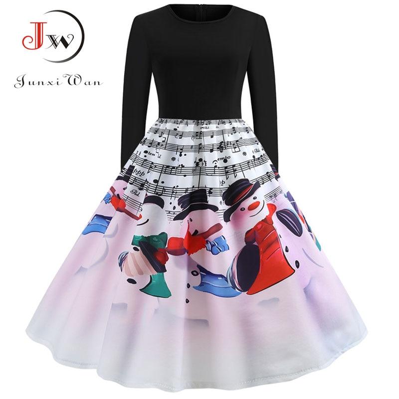 Winter Women Christmas Dress Long Sleeve Print Vintage Party Dress Elegant Black Patchwork Bodycon Dresses Vestidos Plus Size 13