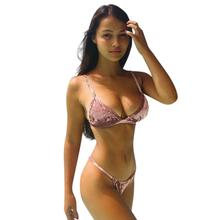 Brazilian Womens Velvet Bikini Set Sexu Low Waist Swimming Costumes Swimsuit Push Up Swimwear Maillot