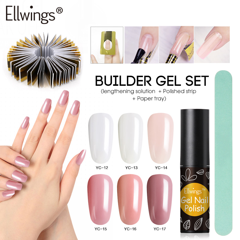 Ellwings Acrylic Poly Gel Nails UV Builder Gel Enhancement Extension Nail Polish Polygel Varnish Set French Kits Slip Solution ...