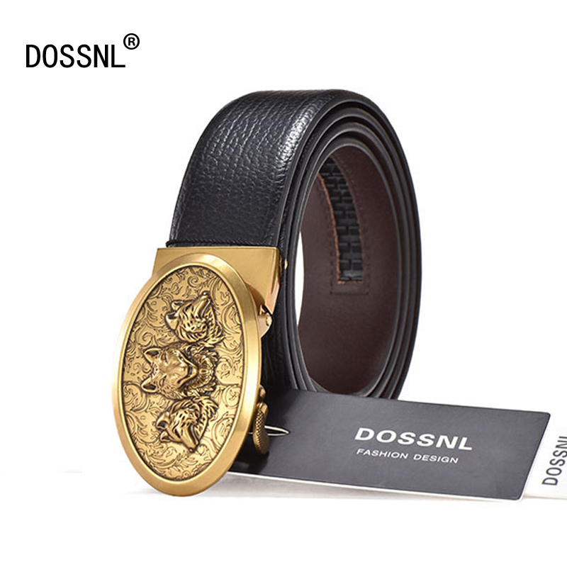 DOSSNL Brand Men   Belts   Genuine Leather Luxury Strap Business Male Waistband Man Buckle Vintage Jeans Girdle Ceinture Homme A030