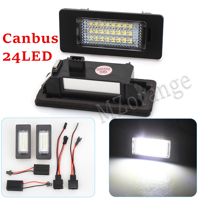 24LED License number plate light lamp for Porsche Panamera VW Golf Passat B6 5D Variant Skoda Fabia II Combi Superb Yeti 5L no error car led license plate light number plate lamp bulb for vw touran passat b6 b5 5 t5 jetta caddy golf plus skoda superb