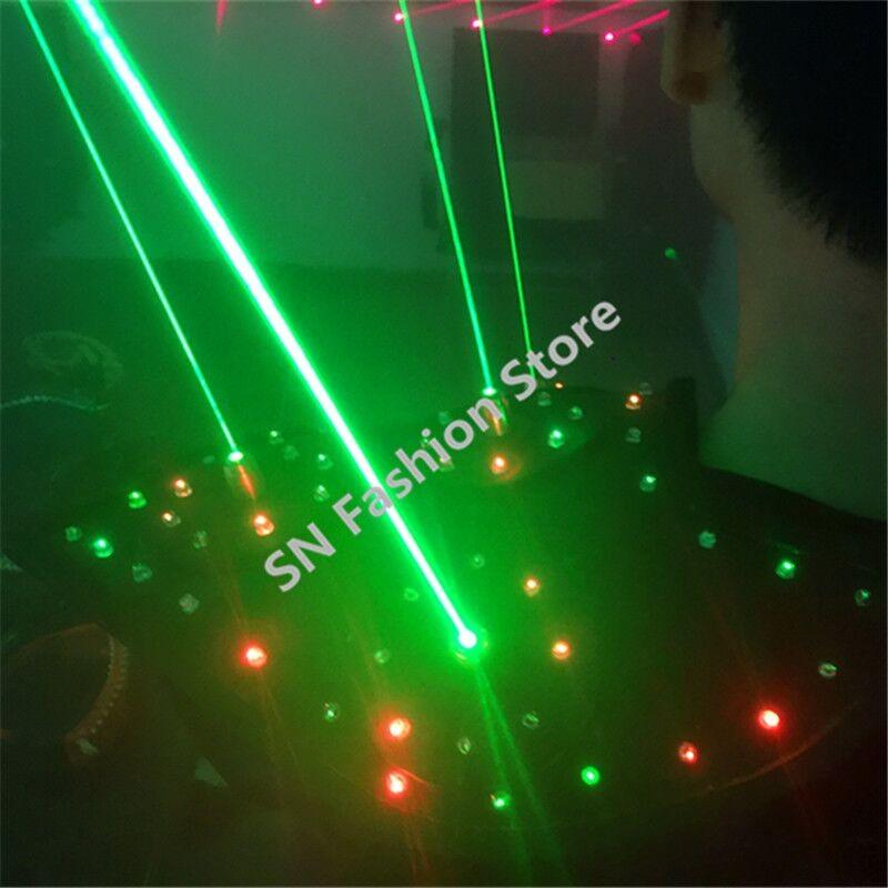 T16 Colorful light ballroom laser vest dj laser costumes dance wears laser glasses red laser suit led clothes shoulder led vest 32