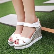 Slides Platform Sandals Women Peep Toe Shoes Summer Wedges Gladiator Sandals Woman High Heels Sandals Plus Size 34-40.41.42.43