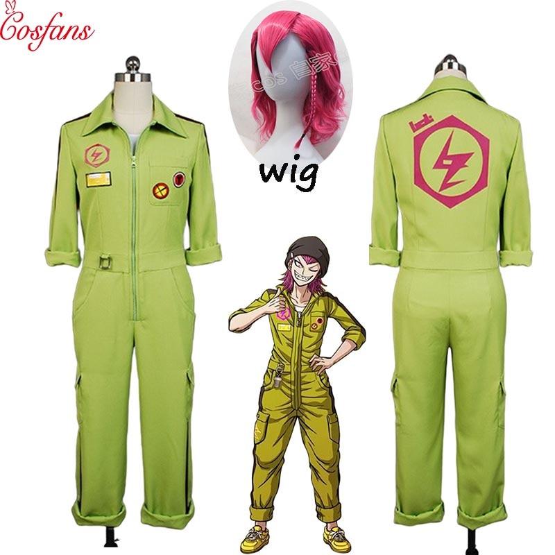 Super DanganRonpa Cosplay Kazuichi Costume Kazuichi Souda Full Set Uniform Jumpsuit With Hat Outfit Halloween Costume Vest Wig