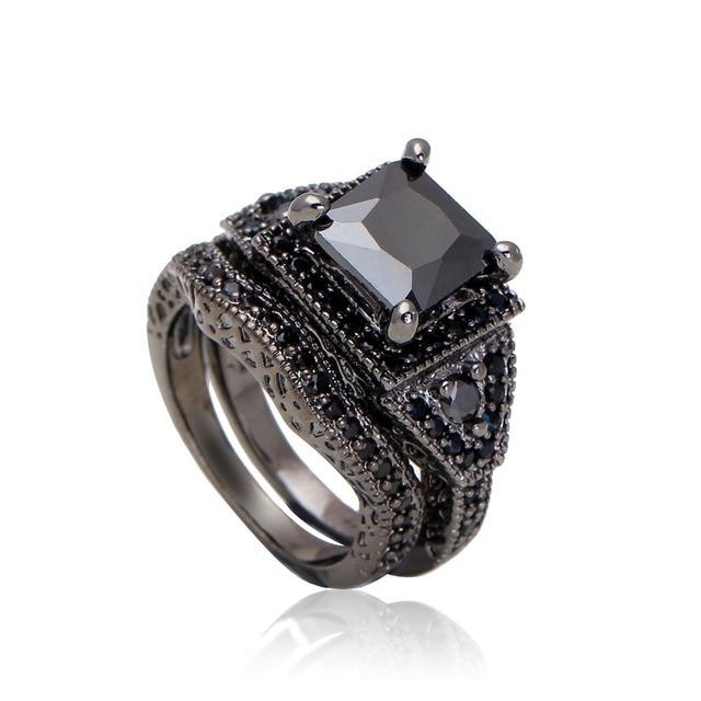 Vintage Black Ring Set Women Created Purple Jewelery Wedding Band Engagement Rings Unique Design