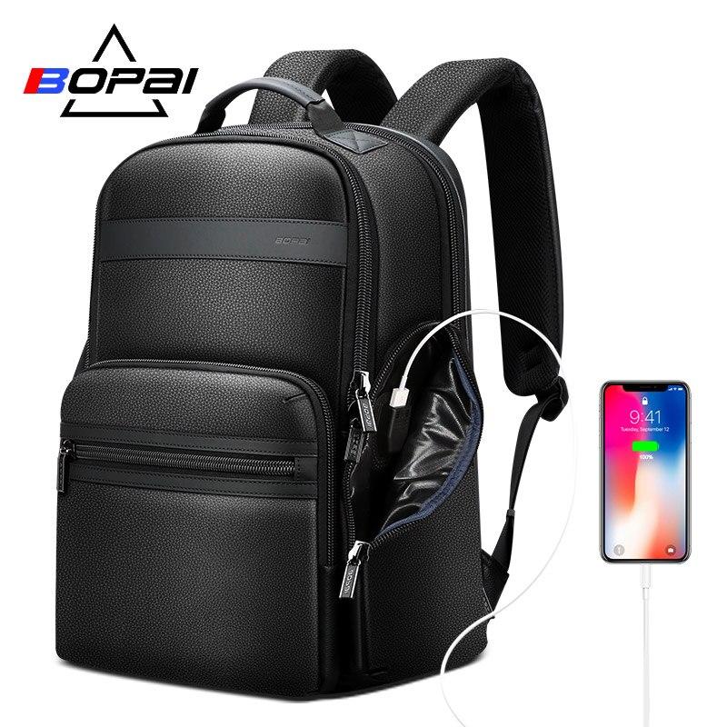 BOPAI de lujo capa superior de cuero de vaca mochila bolsos de cuero genuino mochila de ordenador portátil hombres viaje de negocios mochila de viaje