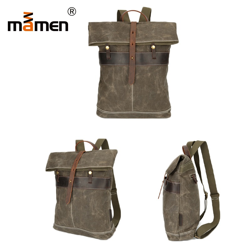 Mamen Camera Bag 30*9.7*41cm Waterproof Camera Lens Bag Cash Wallet Travel Outdoor Backpack Wear-resistant Canvas Bag 2018 New