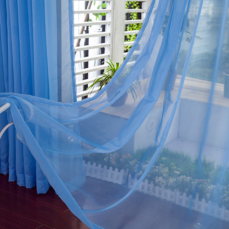 2016 new arrival blue window curtains for living room luxurious solid chinese tulle sheer curtains for children room divider
