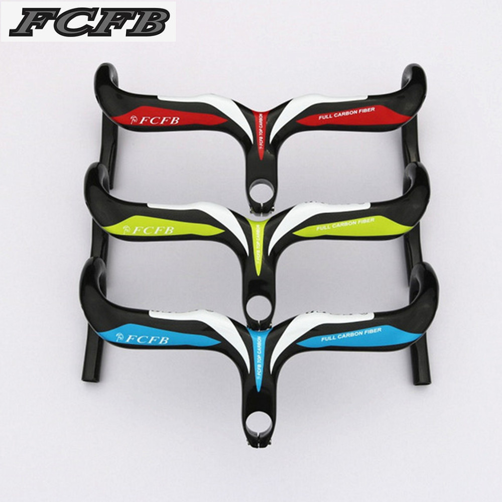 FCFB carbon road bicycle cycling handlebar carbon bike parts drop handle bars and Stem integrative 400/420/440mm 28.6mm FCFB rockbros titanium ti pedal spindle axle quick release for brompton folding bike bicycle bike parts