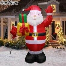 OurWarm Papá Noel inflable LED gigante de Navidad, muñeco inflable soplado por aire, juguetes para jardín al aire libre, patio de césped, decoración para el hogar de Año Nuevo