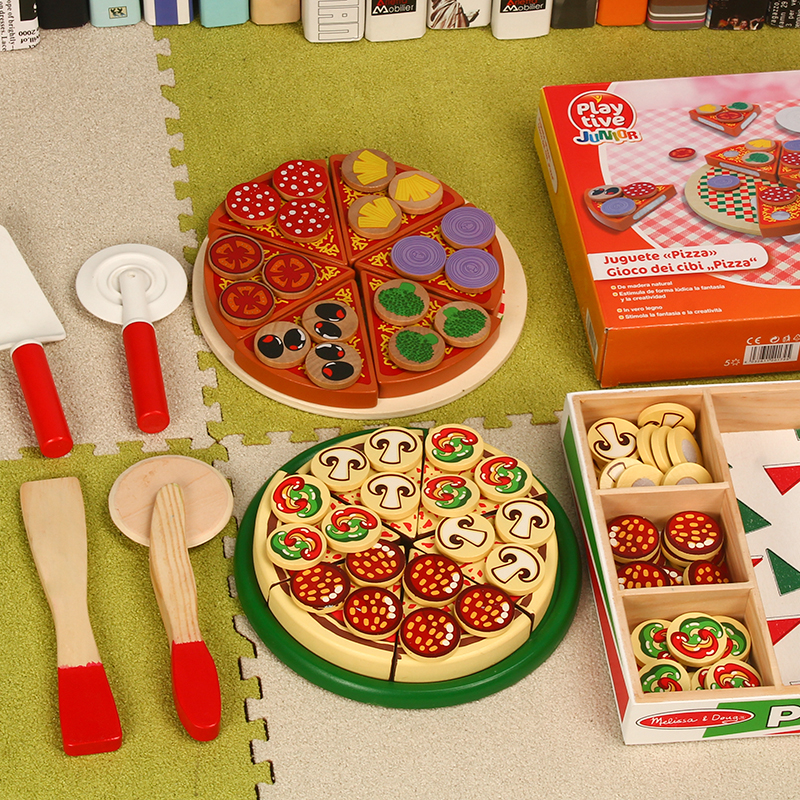 Wood Toys For Children Kids Kitchen Pretend Play Toy Set High Quality Wooden Simulation Pizza Hamburger Baby Early Learning Game