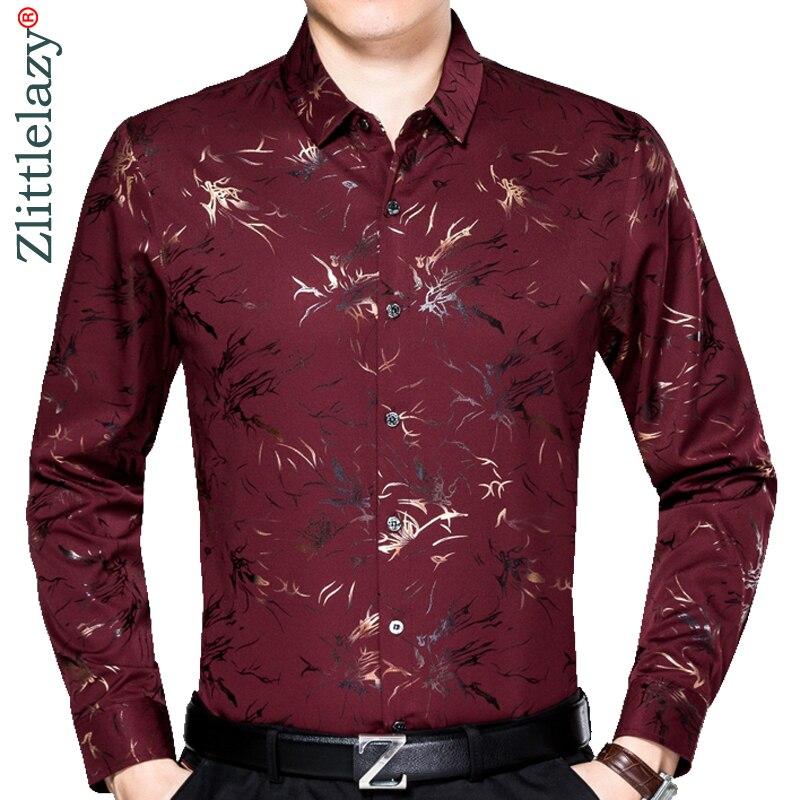 a85c7e6d413 2019 мужской модный бренд повседневное Бизнес slim fit Мужская рубашка  Camisa с длинным рукавом Цветочный социальных рубашки для мальчиков платье  к.