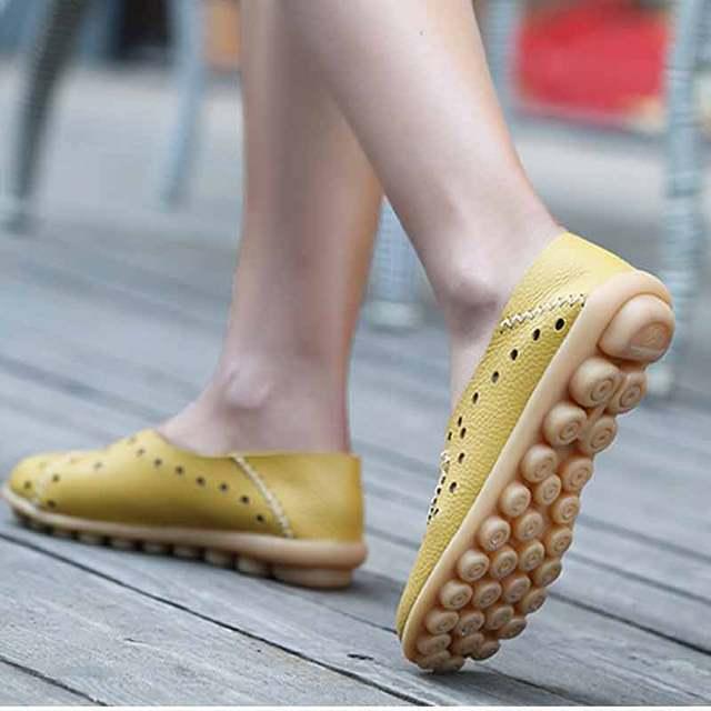 Letnie mokasyny damskie płaskie skórzane buty baleriny espadryle miękkie mieszkania baletowe Slip on płytkie buty wypoczynek Mocassin Femme